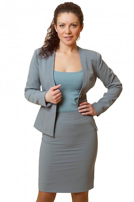 Фото Юбка серая с отделочной строчкой Деловая женская одежда