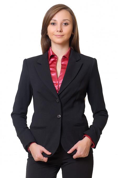 Жакет черный удлиненный теплый Деловая женская одежда