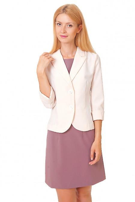 Жакет классический кремовый с коротким рукавом Деловая женская одежда