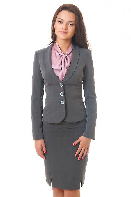Купить серый жакет с отрезной талией Деловая женская одежда