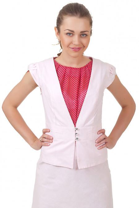 Жилет льняной розовый Деловая женская одежда