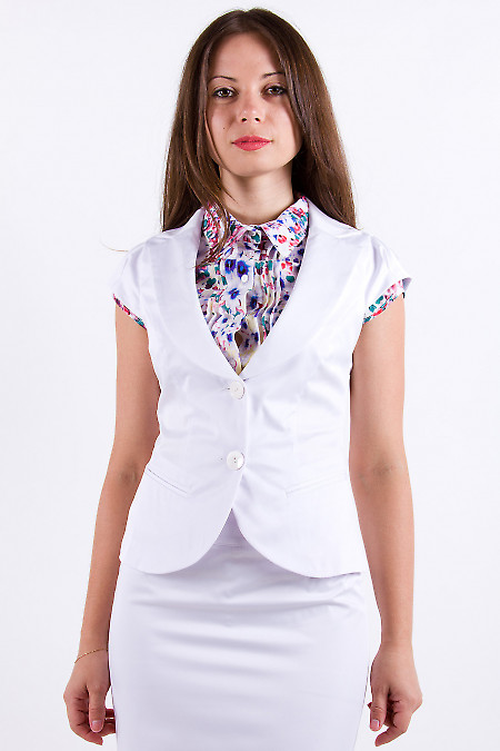 Фото Жилетка белая из шлифованного хлопка Деловая женская одежда