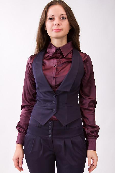 Фото Жилетка синяя с узким воротником  Деловая женская одежда