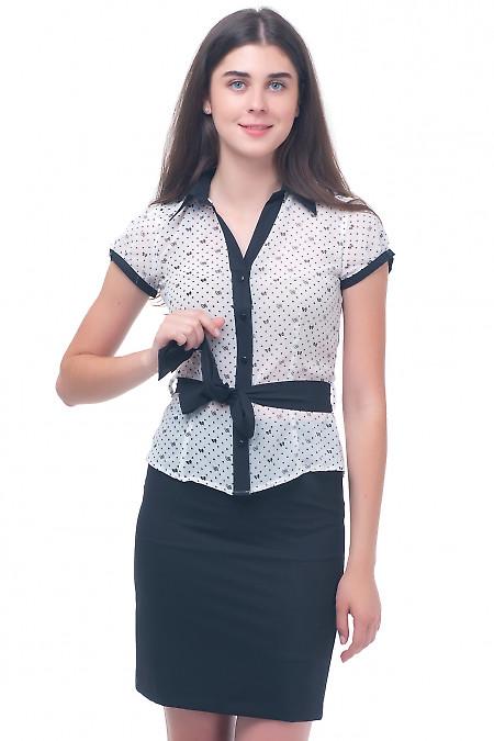 Блузка белая в бантики Деловая женская одежда