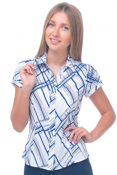 Блузка белая в синие полоски Деловая женская одежда