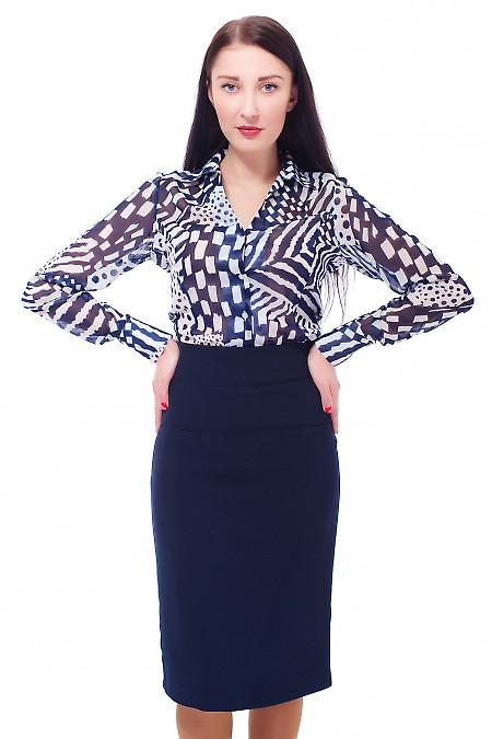 Купить блузку белую в синие ромбы Деловая женская одежда