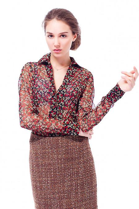 Купить блузку черную в красный цветочек Деловая женская одежда