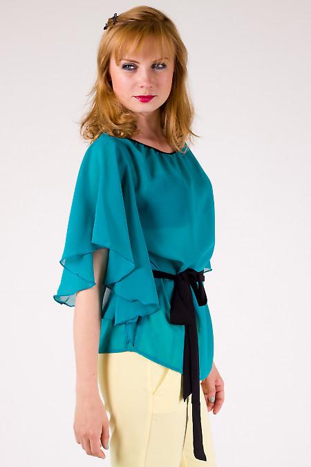 Фото Блузка из шифона бирюзовая Деловая женская одежда