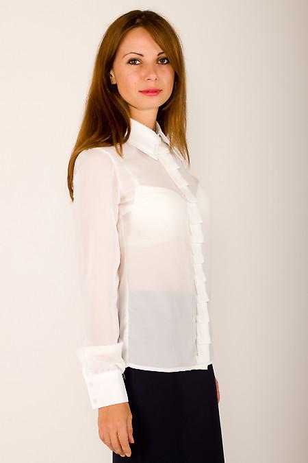 Фото Блузка молочная со складочками Деловая женская одежда
