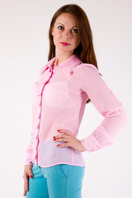 Фото Блузка розовая со складочками Деловая женская одежда