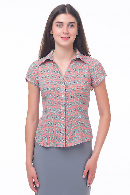 Блузка розовая в серые цветочки Деловая женская одежда