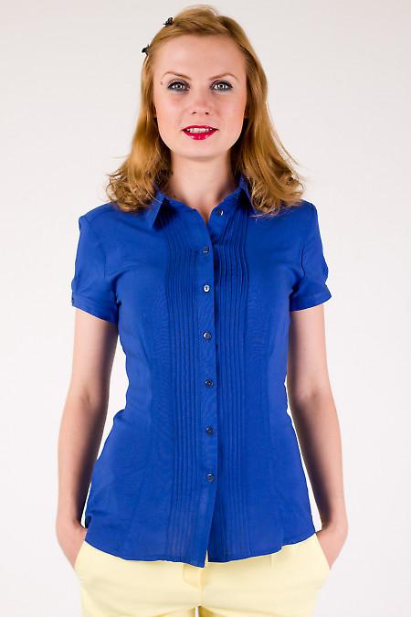Фото Блузка с защипами темно-синяя Деловая женская одежда