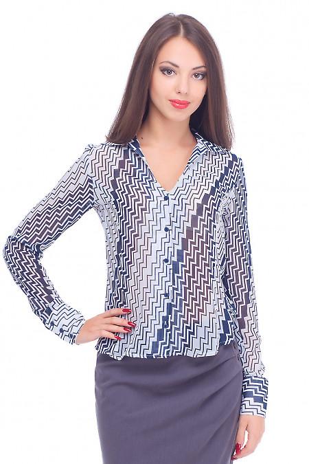 Блузка шифоновая в синюю полоску Деловая женская одежда