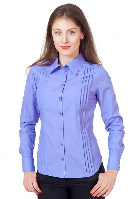 Блузка сиреневая с широкими складочками Деловая женская одежда