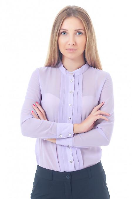 Купить блузку сиреневую со складками без воротника Деловая женская одежда