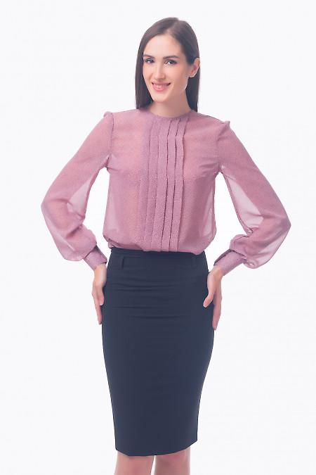 Фото Блузка со складочками розовая в горошек Деловая женская одежда