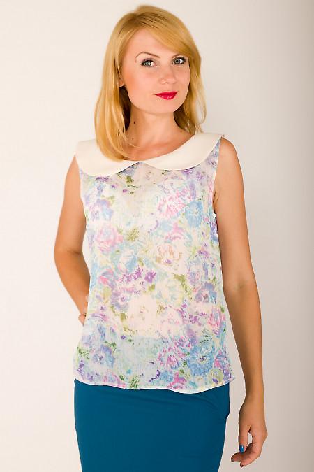 Фото Блузка в голубой цветочек Деловая женская одежда