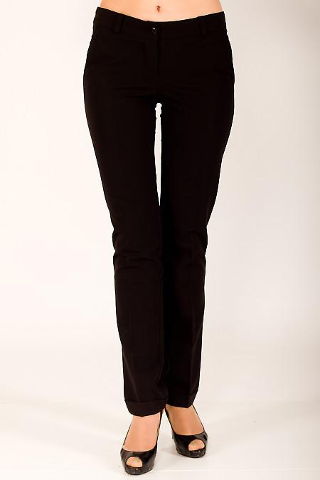 Фото Брюки с манжетами черные Деловая женская одежда
