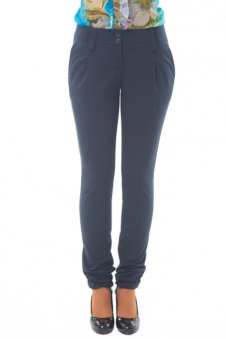 Купить синие брюки с двойным поясом Деловая женская одежда