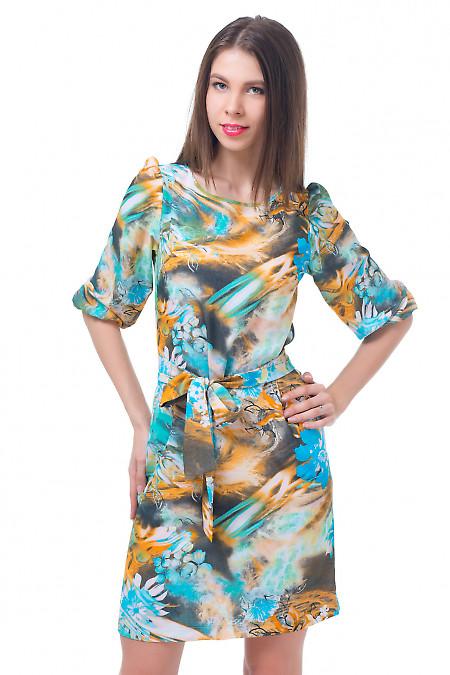 Летнее платье в цветы с рукавом Деловая женская одежда
