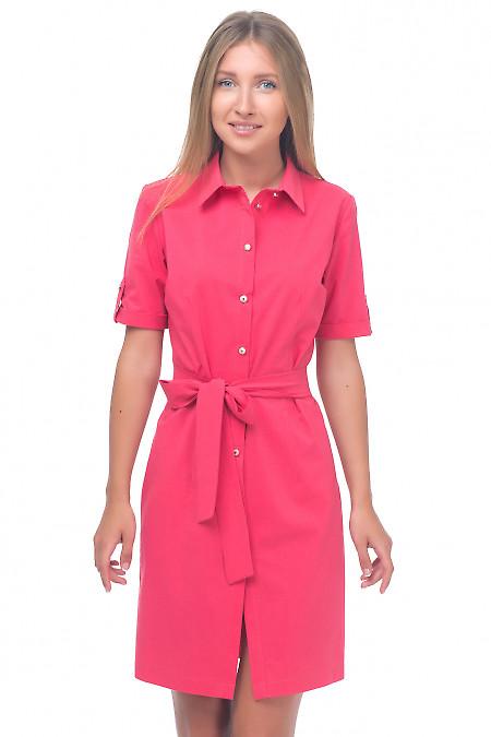 Платье-сафари розовое Деловая женская одежда