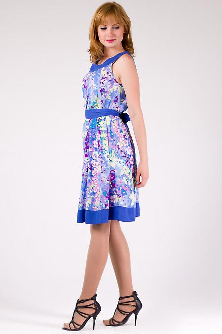 Фото Платье-трапеция в голубые цветочки Деловая женская одежда