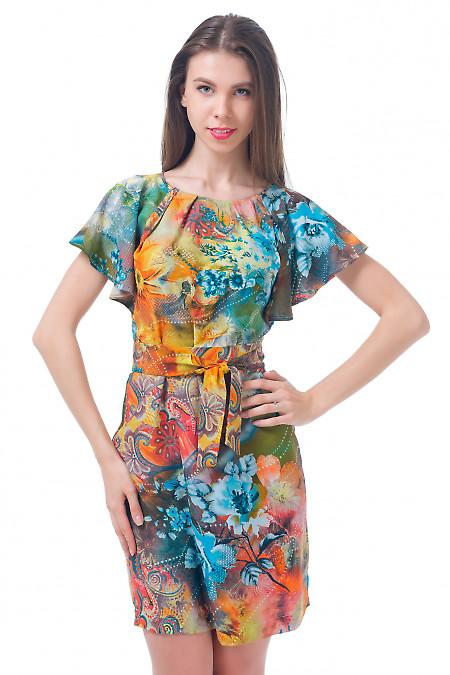 Платье  в цветы с крылышками Деловая женская одежда