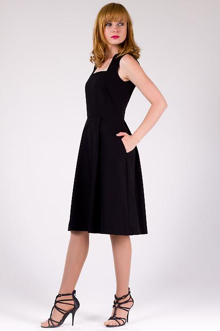 Фото Платье черное с карманами Деловая женская одежда