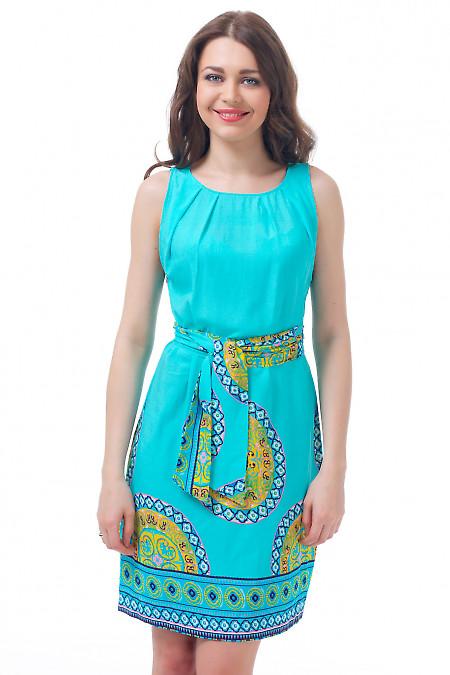 Платье голубое с защипами и поясом Деловая женская одежда