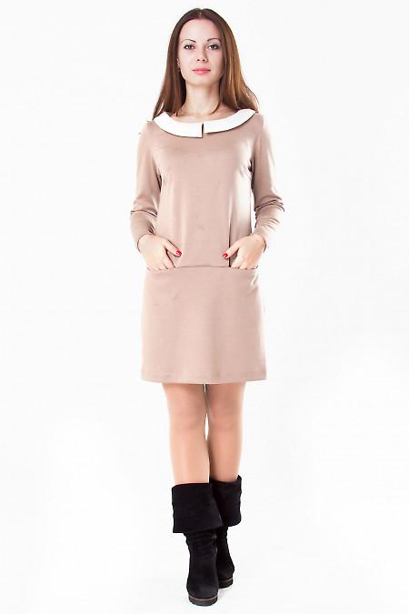 Фото Платье коричневое с бежевым воротником Деловая женская одежда