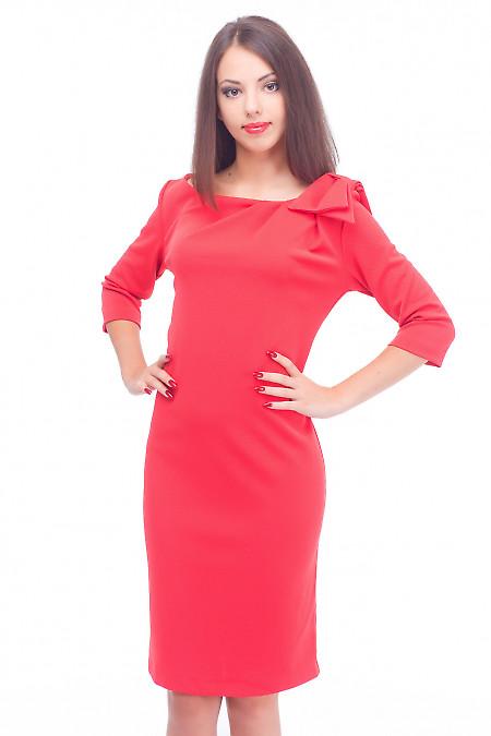 Платье красное с бантиком и длинным рукавом Деловая женская одежда