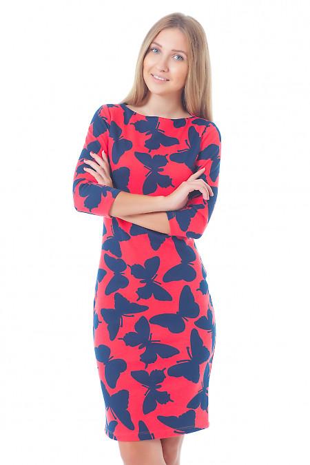 Платье красное в синие бабочки Деловая женская одежда