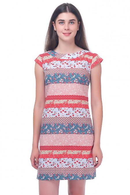 Платье летнее полосатое с цветочками Деловая женская одежда