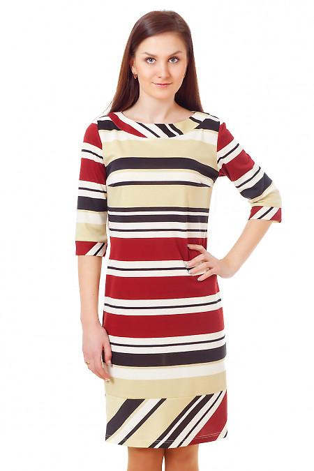 Платье плосатое с манжетой Деловая женская одежда