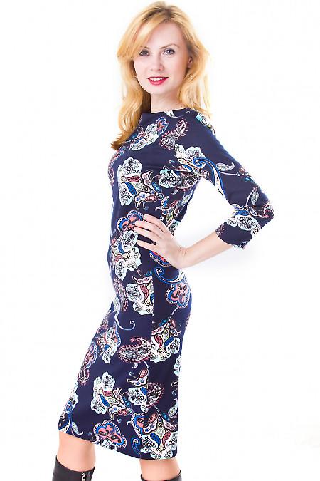Фото Платье синее с голубым рисунком Деловая женская одежда