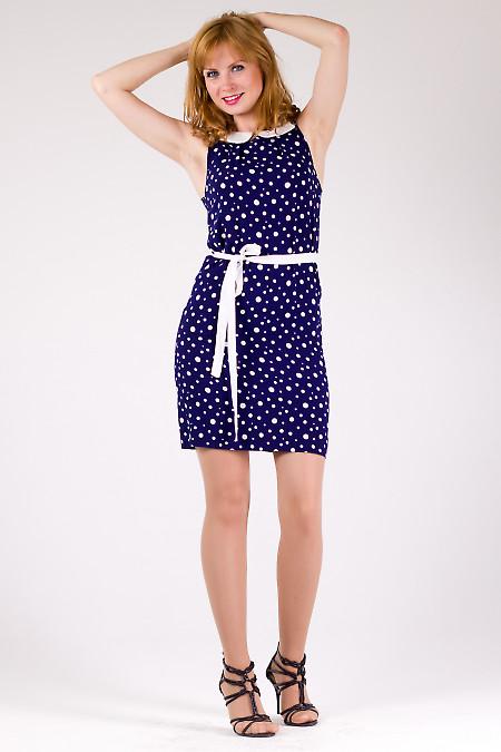 Фото Платье синее в горох из штапеля Деловая женская одежда