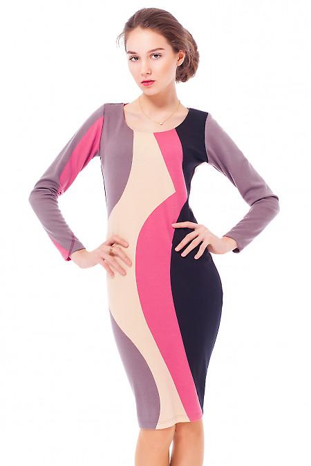 Купить платье трикотажное с розовым узором Деловая женская одежда
