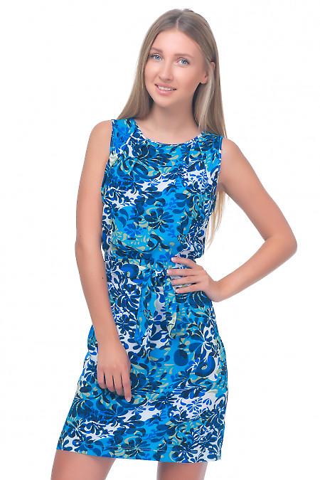 Платье в синие лепестки Деловая женская одежда