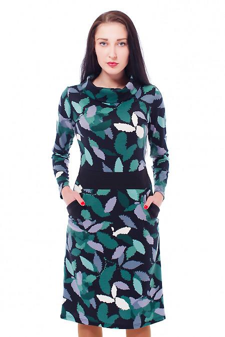 Платье в зеленый узор с карманами Деловая женская одежда