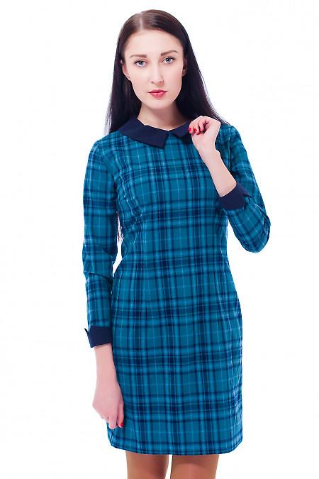 Купить платье зеленое в синюю клетку Деловая женская одежда