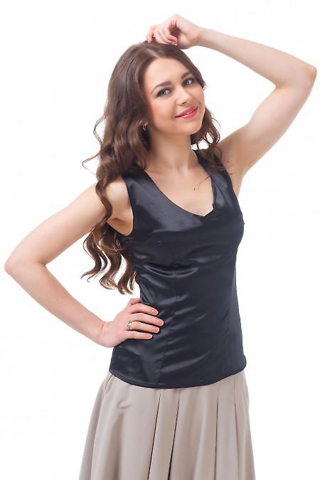 Топ черный атласный Деловая женская одежда