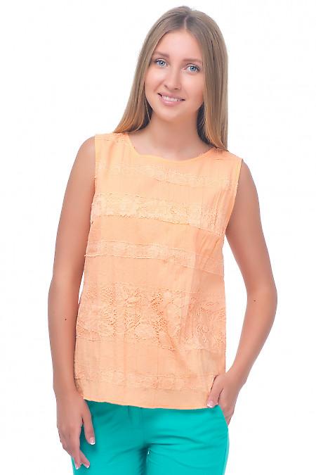 Топ оранжевый с кружевом Деловая женская одежда