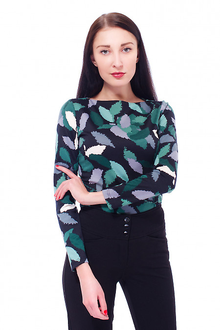 Купить тунику черную в зеленый узор Деловая женская одежда