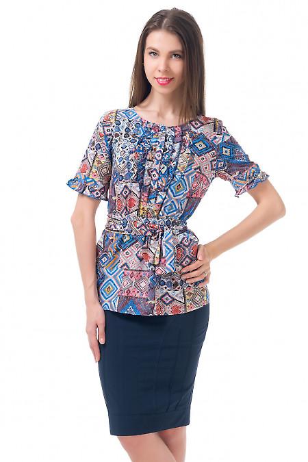 Туника разноцветная с рюшами Деловая женская одежда