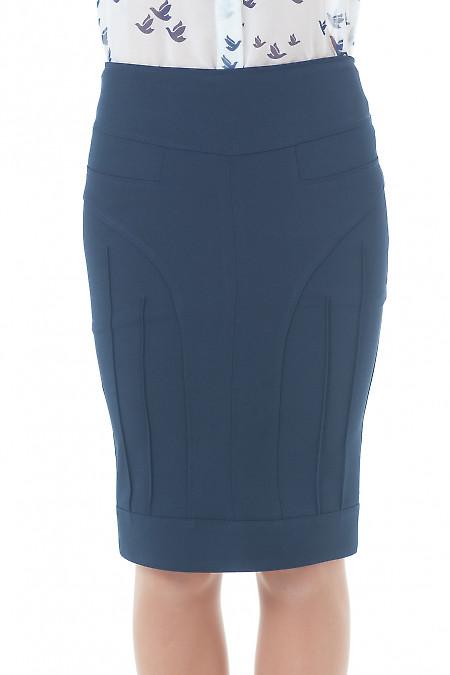 Купить юбку-карандаш синяя с рельефами Деловая женская одежда