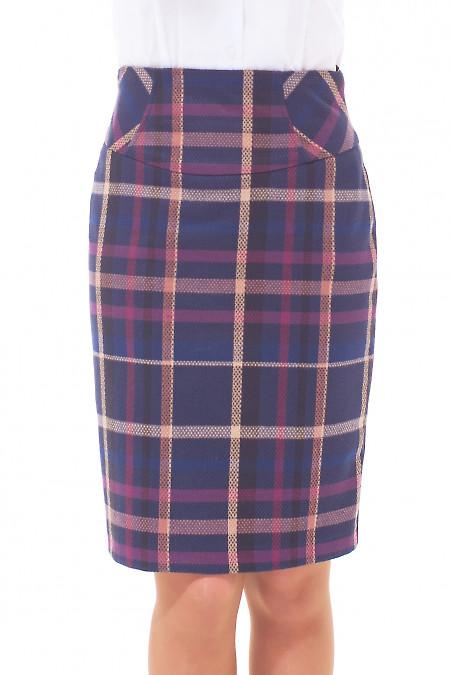 Купить юбку в сиреневую клетку Деловая женская одежда