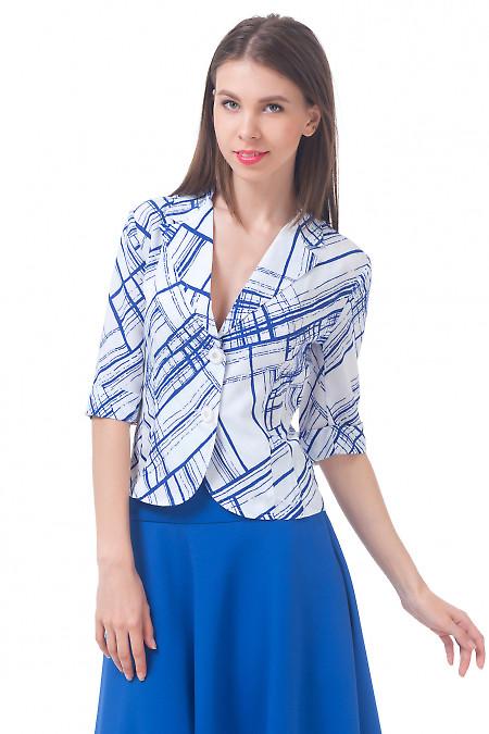 Жакет белый с синими квадратами Деловая женская одежда