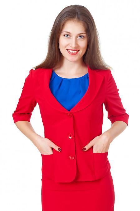 Жакет красный с карманами Деловая женская одежда