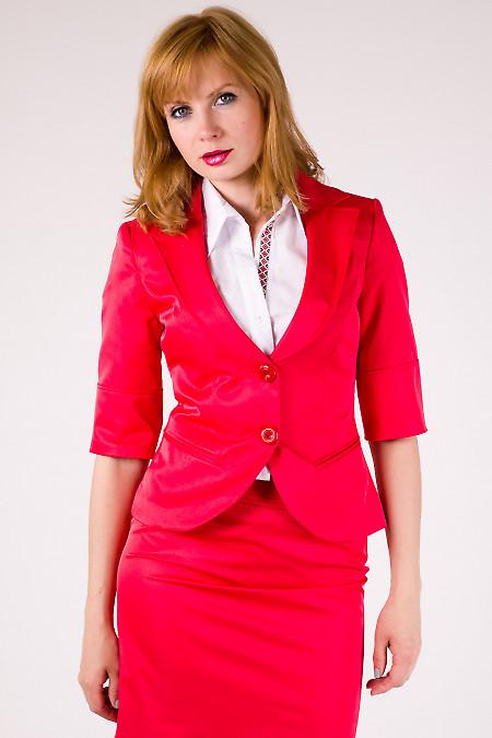 Фото Жакет красный с коротким рукавом Деловая женская одежда