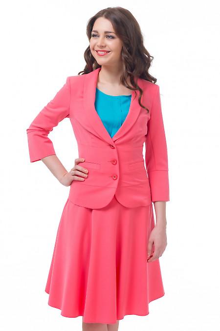 Жакет розовый с отрезной талией Деловая женская одежда